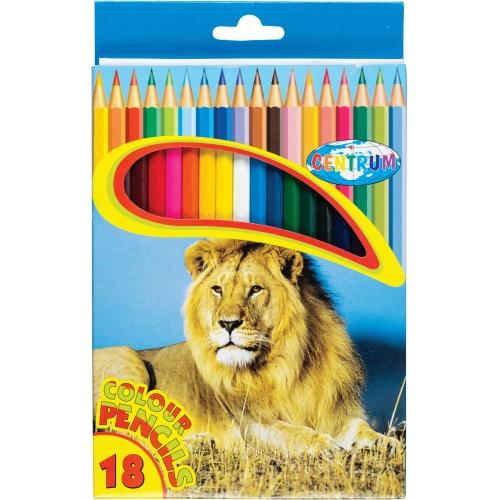 """Карандаши цветные 18 цветов """"ZOO"""" шестигранные заточенные в картонной упаковке с вырубкой с европодвесом. Длина 177мм."""