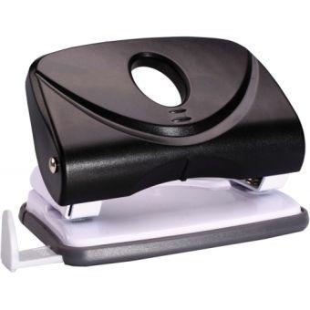 Дырокол в пластиковом черном корпусе на 15 листов с измерительной планкой.