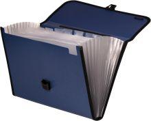 Портфель для бумаг с ручкой пластиковый 0,75мм рифленый с 13 отделениями; ассорти 3 цвета; формат А4