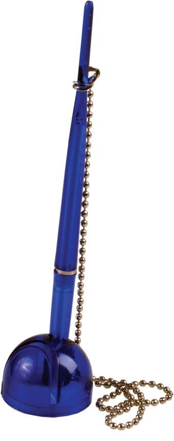 """Ручка шариковая синяя 0,7 мм на цепочке, на черной подставке """" шар"""" с липучкой, в блистре с европодвесом."""