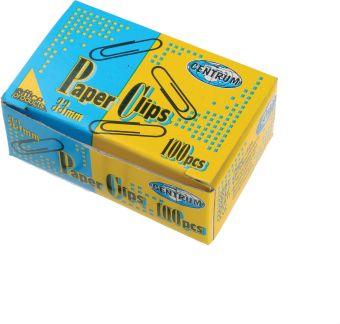 Скрепки канцелярские с виниловым покрытием 33мм; 100 штук в коробке.