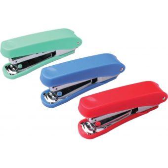 Степлер №10 MINI на 5 листов, раскрытие 20мм, в пластиковом цветном корпусе с пластиковым механизмом для подачи скоб.
