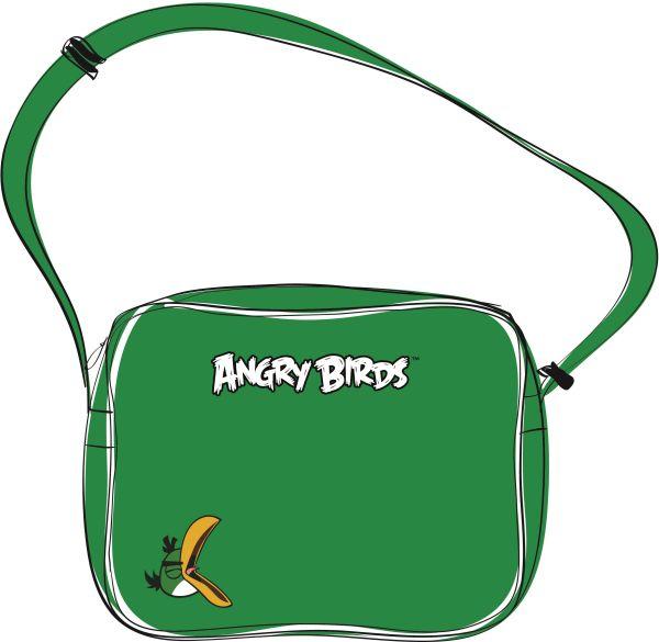 Сумка  Angry birds ,кожзаменитель зеленый , 26,5*32,5*13,5 см,. молния, наплечный ремень,  большой внешний карман  с  Зеленой птицей