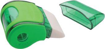 Точилка пластиковая с контейнером для мусора и ластиком, 32 шт/дисплее (цвета ассорти)