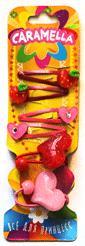 Набор закол: 2 резинки+4 заколочки, фрукты, сердца