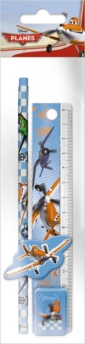 Набор канцелярский в ПП пакете с подвесом: линейка прозрачная 15 см, карандаш, точилка малая, ластик фигурный, размер 23х5,2х1,5 см, Planes
