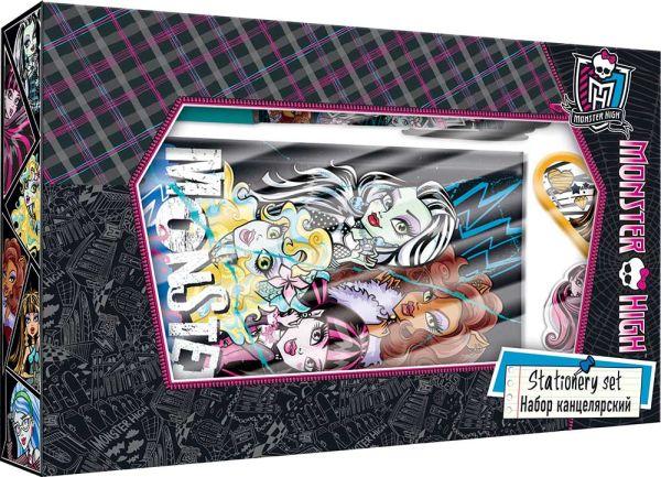 Набор канцелярский в подарочной коробке с вырубкой: ноутбук 7БЦ (внутр. блок печать 1+1), ручка автоматическая, карандаш ч/г с ластиком, Monster High