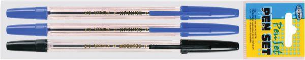80799 Набор шариковых ручек PIONEER. В наборе 3 ручки: 2 синих, 1 черная. Диаметр шарика 0,5 мм. В ПВХ упаковке.