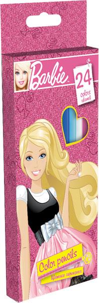 Карандаши, 24 цв. Коробка из мелованного картона, европодвес Барби