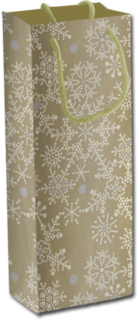 Пакет бумажный бутылочный, размер 12 x 36 x 9,5 см, эффект: матовая ламинация, печать металлизированными красками, плотность бумаги 128 Regalissimi