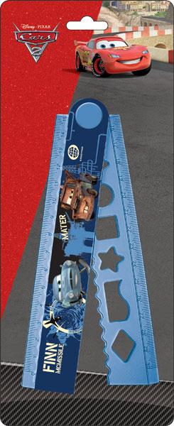 Линейка раскладная с трафаретом, 30 см, 1 шт. Упаковка -блистер, европодвес Cars