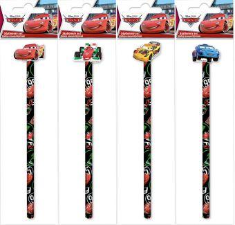Карандаш ч/г с фигурным ластиком в пакете с подвесом, съемный ластик надет на карандаш. В упаковке микс. 4 варианта ластиков в наборе Cars