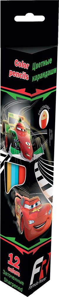 Набор цветных карандашей (треугольные), 12 шт. Цветные карандаши длиной 17,8 см; заточенные; дерево - липа; цветной грифель 3 мм; Cars