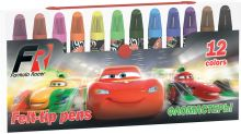 Набор цветных фломастеров. 12 шт. Размер одного фломастера - 9,2 х 1,3 см, (с колпачком). Колпачок - вентилируемый, в цвет наконечника,Cars