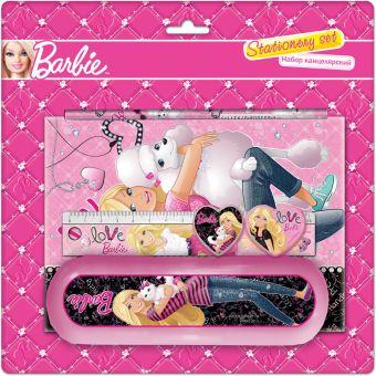 Набор канцелярский в блистере: ластик фигурный, записная книжка, пенал пластиковый, линейка прозрачная 15 см, точилка большая круглая Barbie