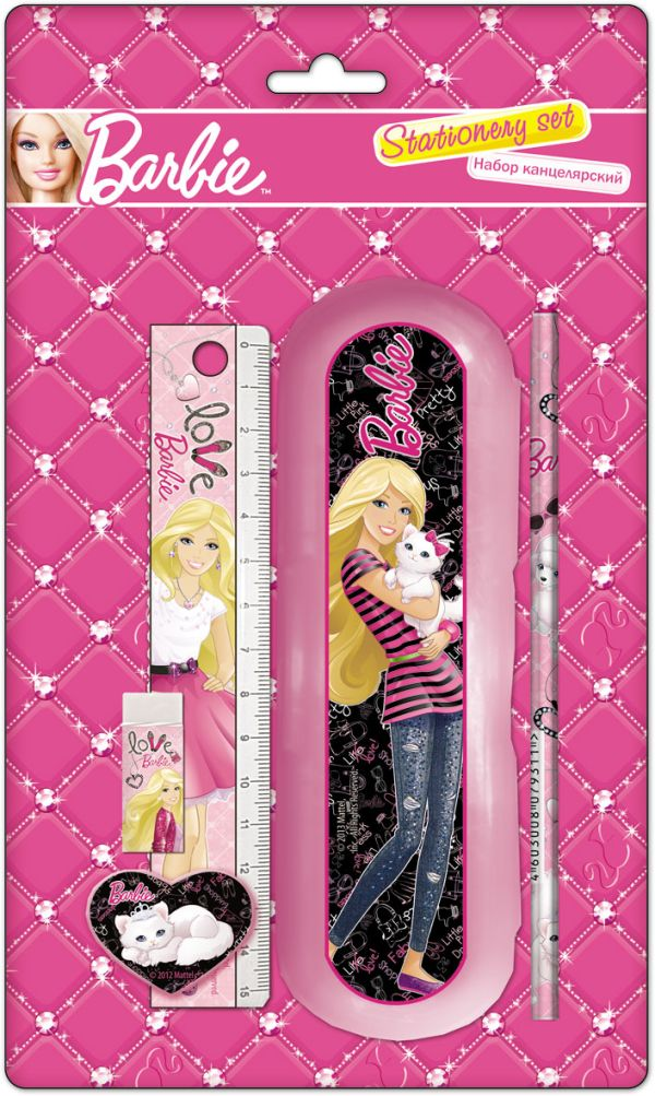 Набор канцелярский в блистере: карадаш ч/г 2 шт, точилка малая, пенал пластиковый, линейка прозрачная 15 см, ластик, Barbie