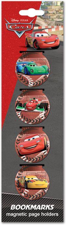 Закладки магнитные 4 шт в пакете с подвесом, 5,7 х 20 см, Cars
