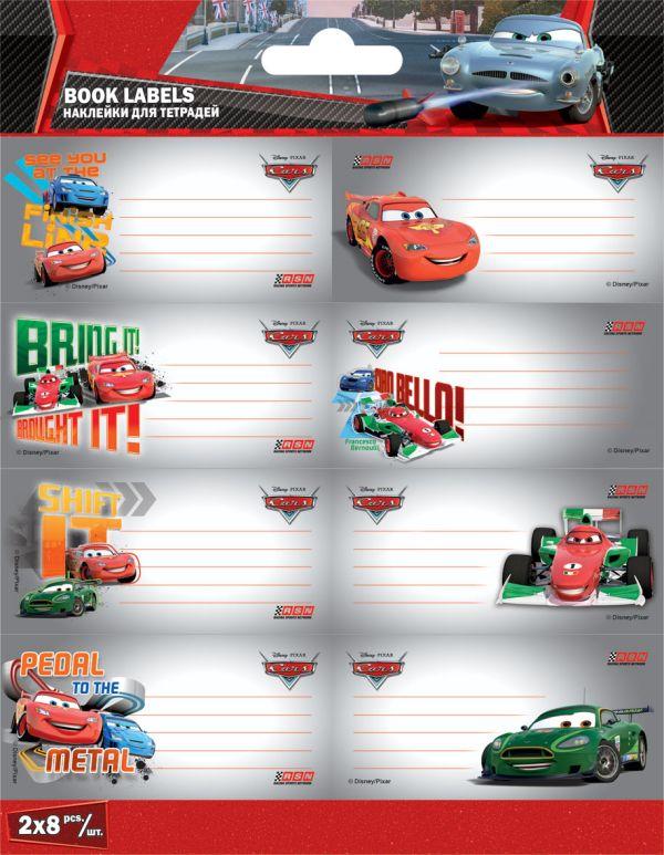 Наклейки для тетрадей, 77 x 39 мм, 2 листа по 8 шт. каждый, упаковка - в ПП-пакете с европодвесом, картонная вкладка - 250 г/м2, Cars