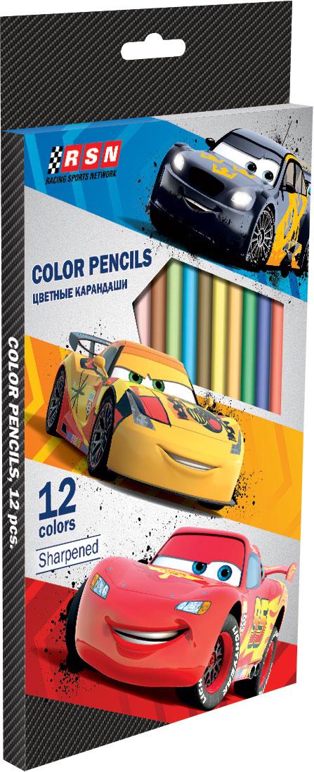 Набор цветных карандашей, 12 шт. (треугольные толстые). Цветные карандаши длиной 17,8 см; заточенные; розовое дерево; цветной грифель 4 Cars