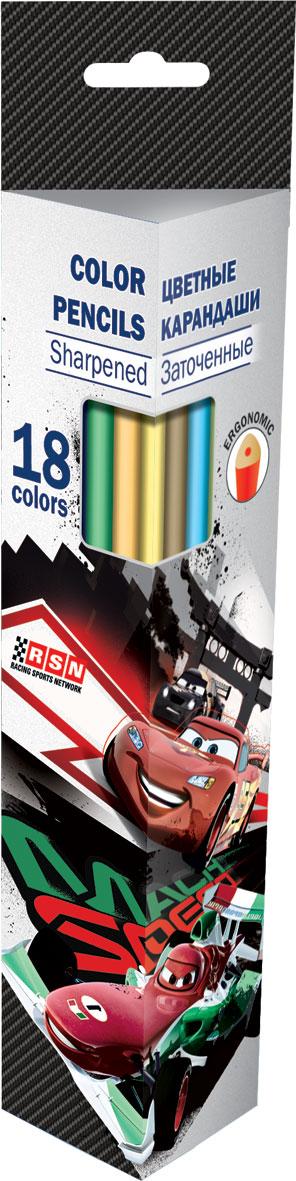 Набор цветных карандашей (треугольные), 18 шт. Цветные карандаши длиной 17,8 см; заточенные; дерево - липа; цветной грифель 2,65 мм; Cars