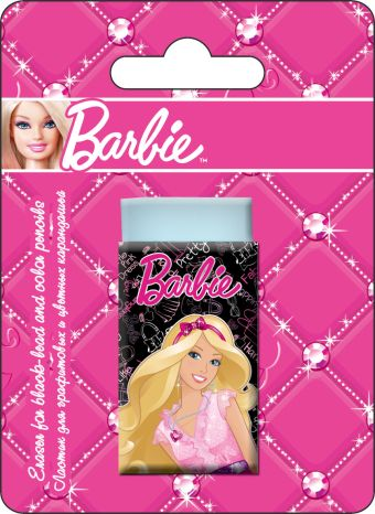 Ластик для графитовых и цветных карандашей, 1 шт. Высококачественный ластик Dust-free. Печать на бумажной обертке - полноцветная. Barbie