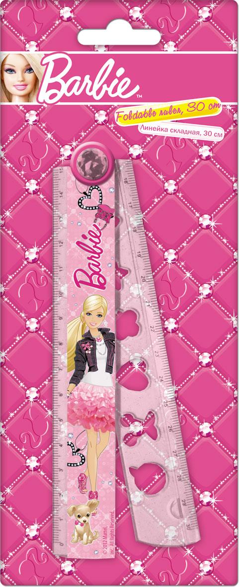 Линейка раскладная с трафаретом, 30 см, 1 шт. Печать на корпусе - термоперенос. Упаковка -блистер, 500 г/м2, 4+1, европодвес. Barbie