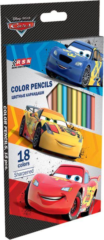 Набор цветных карандашей, 18 шт. Цветные карандаши длиной 17,8 см; заточенные; дерево - липа; цветной грифель 2,65 мм; карандаш в цвет Cars