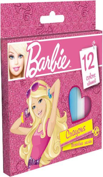 Восковые мелки, 12 цветов, Упаковка - картонная коробка Barbie