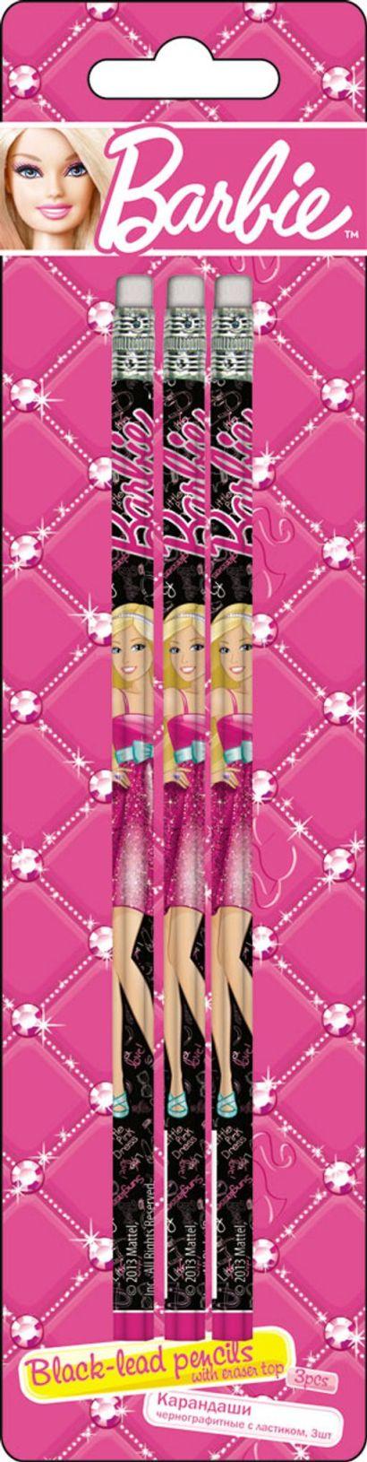 Карандаши ч/г BB, шестигранные с ластиком, 3 шт. Печать на корпусе - термоперенос. Упаковка - блистер, 500 г/м2, 4+1, европодвес. Barbie - фото 1