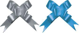 Бант-бабочка, 2 штуки в PP пакете с подвесом, размер 18 х 450 мм, цвета синий, серебряный, эффект - металлизированное покрытие упак. 2 Regalissimi