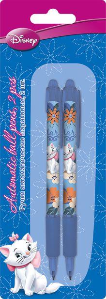 Ручки автоматические шариковые, цвет пасты синий, 2 шт. Печать на корпусе - термоперенос. Упаковка - блистер, 500 г/м2, 4+1, европодв Marie Cat
