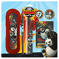 Набор канц. в блистере: ластик, зап. книжка, пенал, линейка 15 см,точилка, карандаш ч/г KungFu Panda