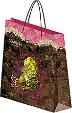 Пакет бумажный 28х34х9 см, матовая ламинация, тиснение фольгой (gold) Narnia