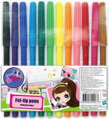 Набор цветных фломастеров, 12 шт. Размер одного фломастера - 14,6 х 0,8 см, (с колпачком). Колпачок - вентилируемый, в цвет наконечника Littlest Pet S
