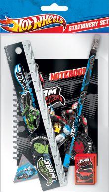 Набор канцелярский в пакете:ластик фигурный, линейка прозрачная 15 см, точилка, карандаш ч/г, записная книжка на дабл-спирали. Hot Wheels (HotWheels)