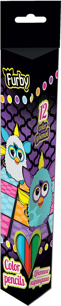 Набор цветных карандашей (треугольные), 12 шт. Цветные карандаши длиной 17,8 см; заточенные; дерево - липа; цветной грифель 3 мм; Furby