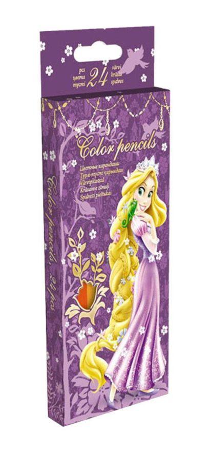 Карандаши, 24 цв. Коробка раздвижная, европодвес Принцессы - фото 1