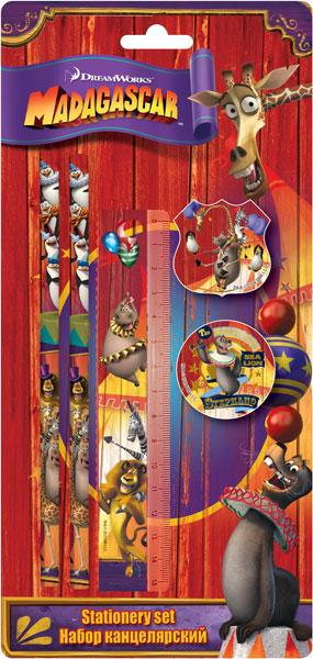 Набор канц. в блистере: карандаши ч/г 2 шт., линейка 15 см, ластик, точилка. Размер 27,5х13х2 см Madagascar