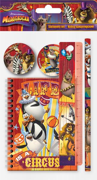 Набор канц. в пакете:ластик, линейка 15 см, точилка, карандаш ч/г, записная книжка Madagascar