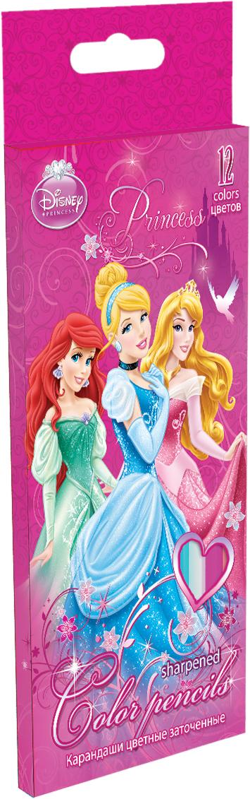 Набор цветных карандашей, 12 шт. Цветные карандаши длиной 17,8 см; заточенные; дерево - липа; цветной грифель 3 мм; Princesses