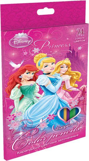 Набор цветных карандашей, 24 шт. Цветные карандаши длиной 17,8 см; заточенные; дерево - липа; цветной грифель 3 мм; карандаш в цвет Princesses