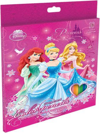 Набор цветных карандашей, 36 шт. Цветные карандаши длиной 17,8 см; заточенные; дерево - липа; цветной грифель 3 мм; Princesses