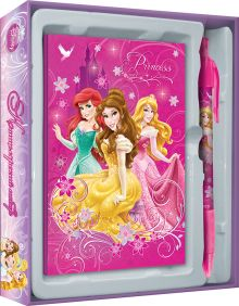 Набор канцелярский в подарочной коробке: ноутбук 7БЦ (внутр. блок печать 1+1), ручка автоматическая. Размер 13 х 16 х 2 см Упак. 15/120 Princesses