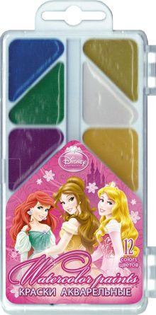 Краски акварельные (медовые), 12 цветов. Упаковка - пластиковая коробка с прозрачной крышкой, стикер - 4+0. Размер 18 х 8 х 1,2 см Princesses