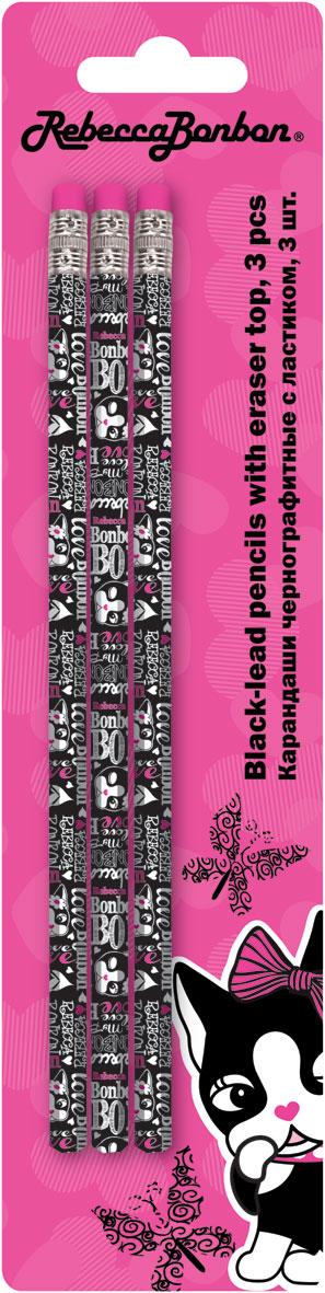 Карандаши ч/г BB, шестигранные с ластиком, 3 шт. Печать на корпусе - термоперенос. Упаковка - блистер, 500 г/м2, 4+1, европодвес. Rebecca Bonbon