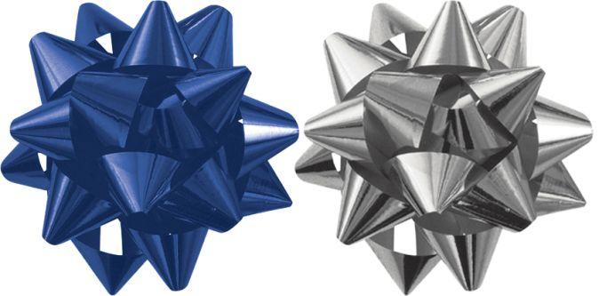 Бант-звезда, 2 штуки в PP пакете с подвесом диаметр 80 мм, Цвета: синий, серебряный, эффект - металлизированное покрытие упак. 48/96 шт. Regalissimi