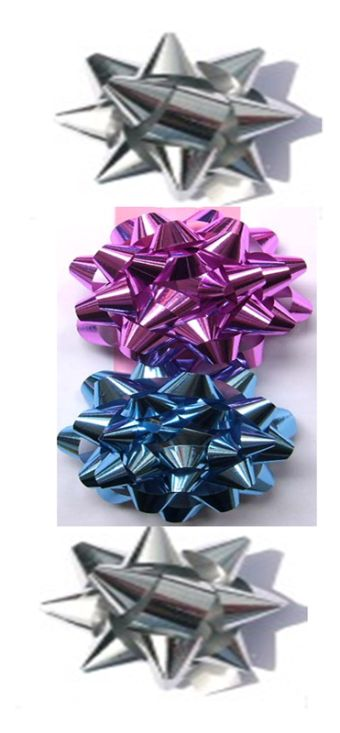Бант-звезда, 4 штуки в PP пакете с подвесом диаметр 80 мм, цвета в ас.(красный, синий, золотой, серебряный), эффект - металлизиров