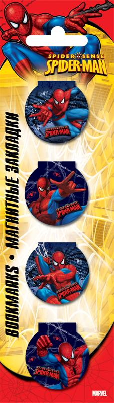 Закладки магнитные 4 шт в пакете с подвесом, 5,7 х 20 см Spider-man