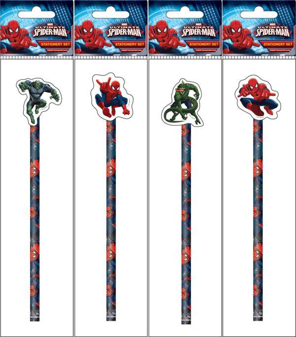Карандаш ч/г с фигурным ластиком в пакете с подвесом, съемный ластик надет на карандаш. В упаковке микс. 4 варианта ластиков в наборе. Spider-man Clas