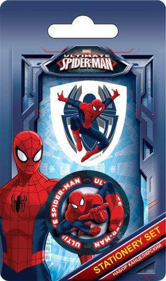 Набор канцелярский в блистере: точилка большая, ластик фигурный, размер 13,5 х 8 х 1,5 см, упак. 40/400 шт.Spider-man
